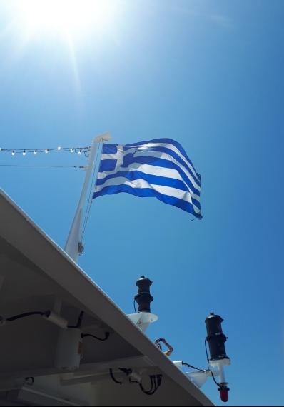 Dans le ferry, direction Santorini !